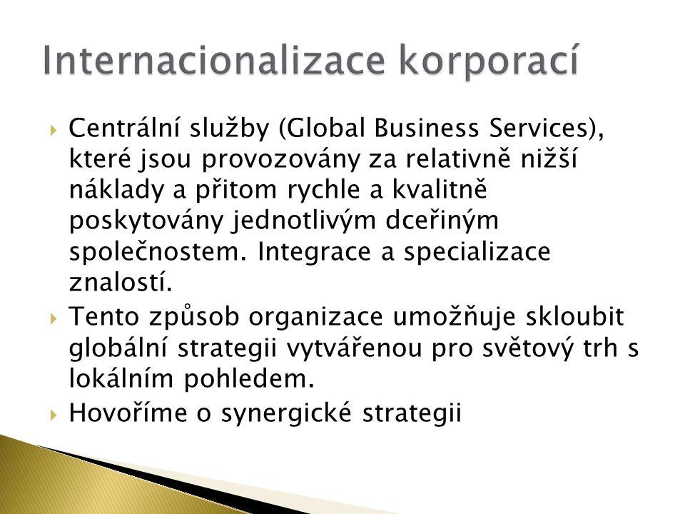  Centrální služby (Global Business Services), které jsou provozovány za relativně nižší náklady a přitom rychle a kvalitně poskytovány jednotlivým dc