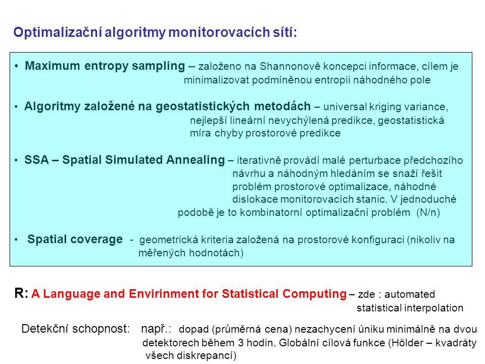 Optimalizační algoritmy monitorovacích sítí: Maximum entropy sampling – založeno na Shannonově koncepci informace, cílem je minimalizovat podmíněnou entropii náhodného pole Algoritmy založené na geostatistických metodách – universal kriging variance, nejlepší lineární nevychýlená predikce, geostatistická míra chyby prostorové predikce SSA – Spatial Simulated Annealing – iterativně provádí malé perturbace předchozího návrhu a náhodným hledáním se snaží řešit problém prostorové optimalizace, náhodné dislokace monitorovacích stanic.