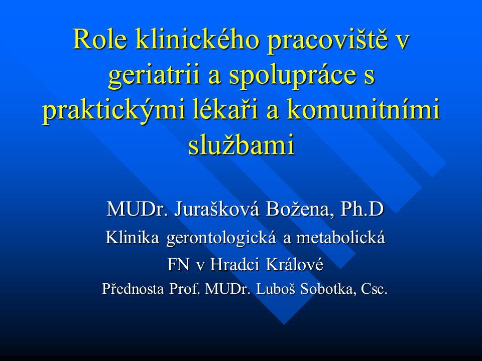 Role klinického pracoviště v geriatrii a spolupráce s praktickými lékaři a komunitními službami MUDr. Jurašková Božena, Ph.D Klinika gerontologická a