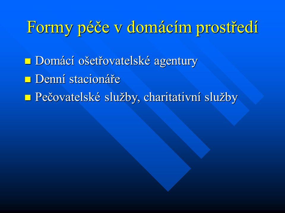 Formy péče v domácím prostředí Domácí ošetřovatelské agentury Domácí ošetřovatelské agentury Denní stacionáře Denní stacionáře Pečovatelské služby, ch