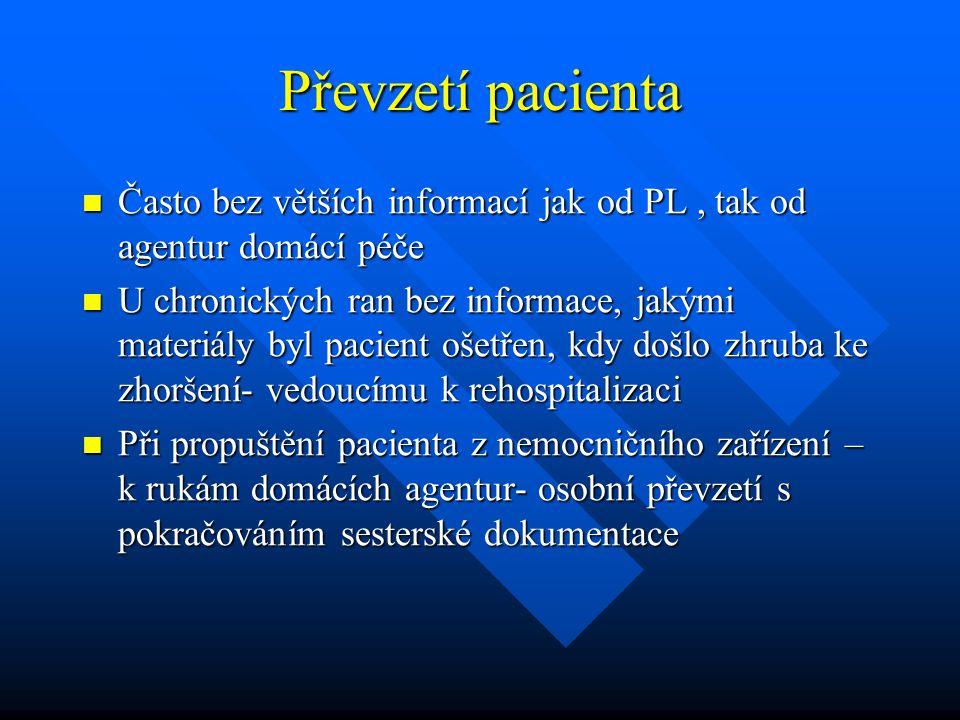 Převzetí pacienta Často bez větších informací jak od PL, tak od agentur domácí péče Často bez větších informací jak od PL, tak od agentur domácí péče