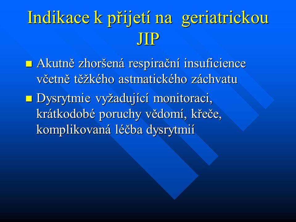Indikace k přijetí na geriatrickou JIP Akutně zhoršená respirační insuficience včetně těžkého astmatického záchvatu Akutně zhoršená respirační insufic