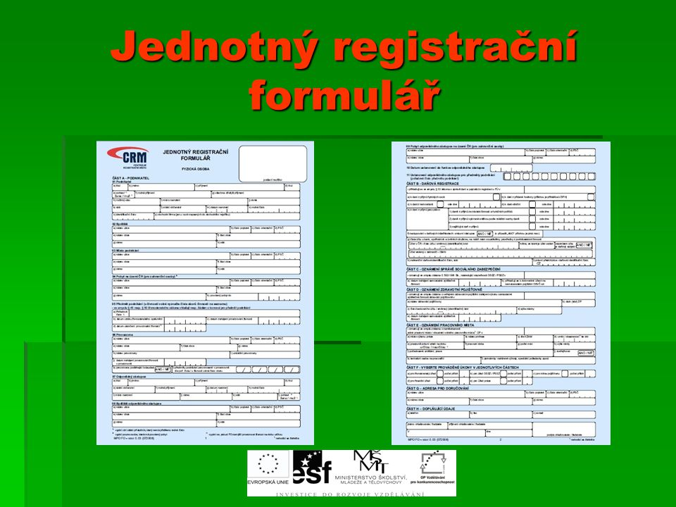 """Centrální registrační místa CCCCentrální registrační místa jsou součástí projektu ministerstva obchodu a průmyslu """"Omezování administrativní zátěže podnikání CCCCRM existují při všech obecních živnostenských úřadech v ČR, tj."""