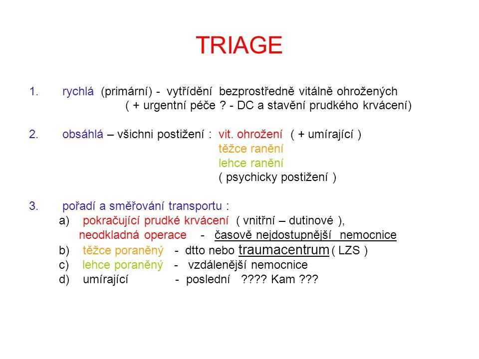 TRIAGE 1. rychlá (primární) - vytřídění bezprostředně vitálně ohrožených ( + urgentní péče ? - DC a stavění prudkého krvácení) 2. obsáhlá – všichni po