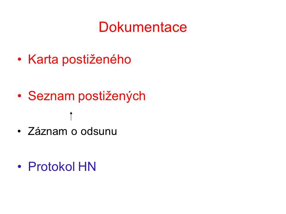 Dokumentace Karta postiženého Seznam postižených Záznam o odsunu Protokol HN
