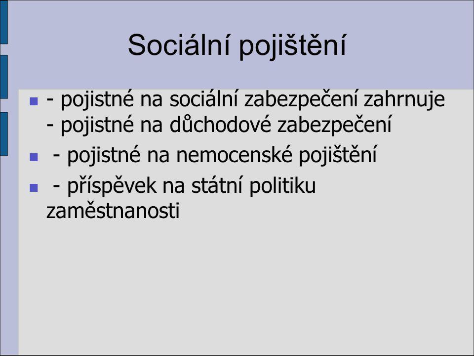 Sociální pojištění - pojistné na sociální zabezpečení zahrnuje - pojistné na důchodové zabezpečení - pojistné na nemocenské pojištění - příspěvek na státní politiku zaměstnanosti