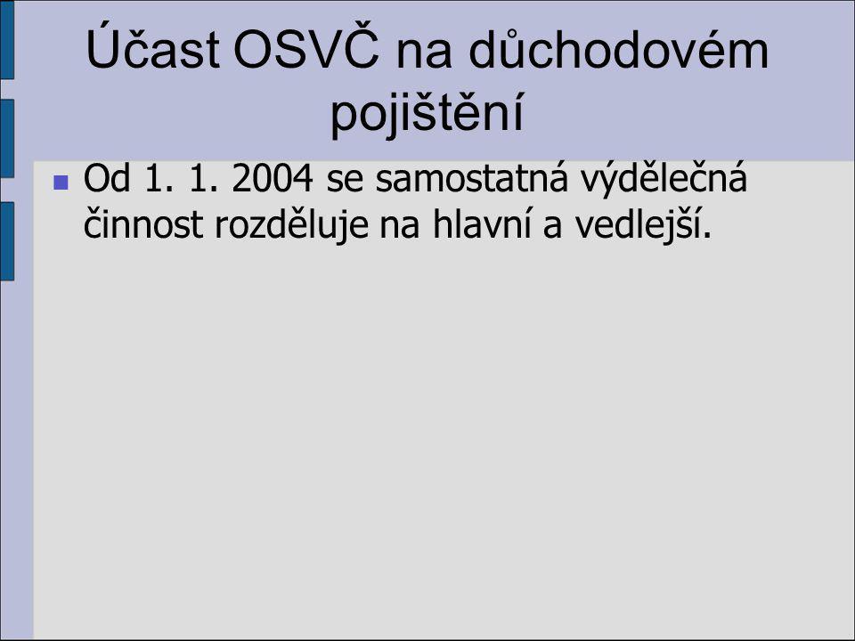 Účast OSVČ na důchodovém pojištění Od 1. 1.