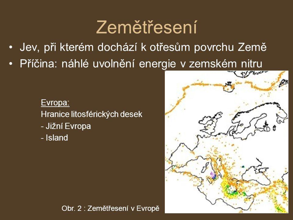 Zemětřesení Jev, při kterém dochází k otřesům povrchu Země Příčina: náhlé uvolnění energie v zemském nitru Obr. 2 : Zemětřesení v Evropě Evropa: Hrani