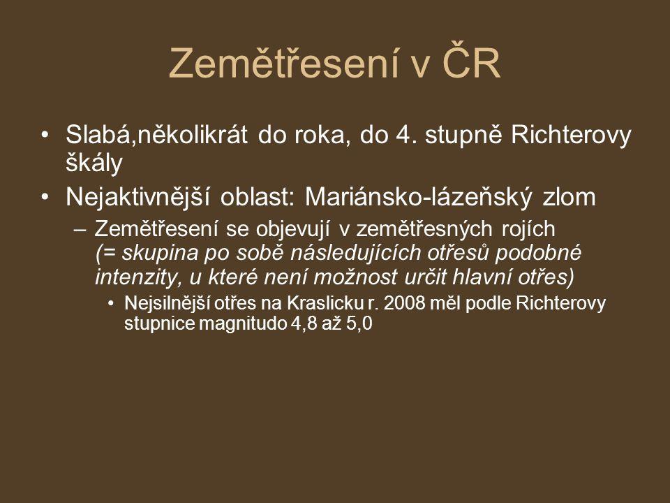 Zemětřesení v ČR Slabá,několikrát do roka, do 4. stupně Richterovy škály Nejaktivnější oblast: Mariánsko-lázeňský zlom –Zemětřesení se objevují v země