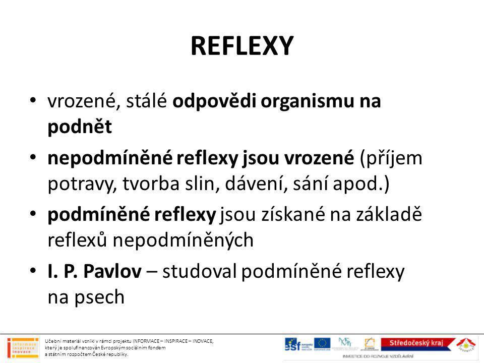 REFLEXY vrozené, stálé odpovědi organismu na podnět nepodmíněné reflexy jsou vrozené (příjem potravy, tvorba slin, dávení, sání apod.) podmíněné refle