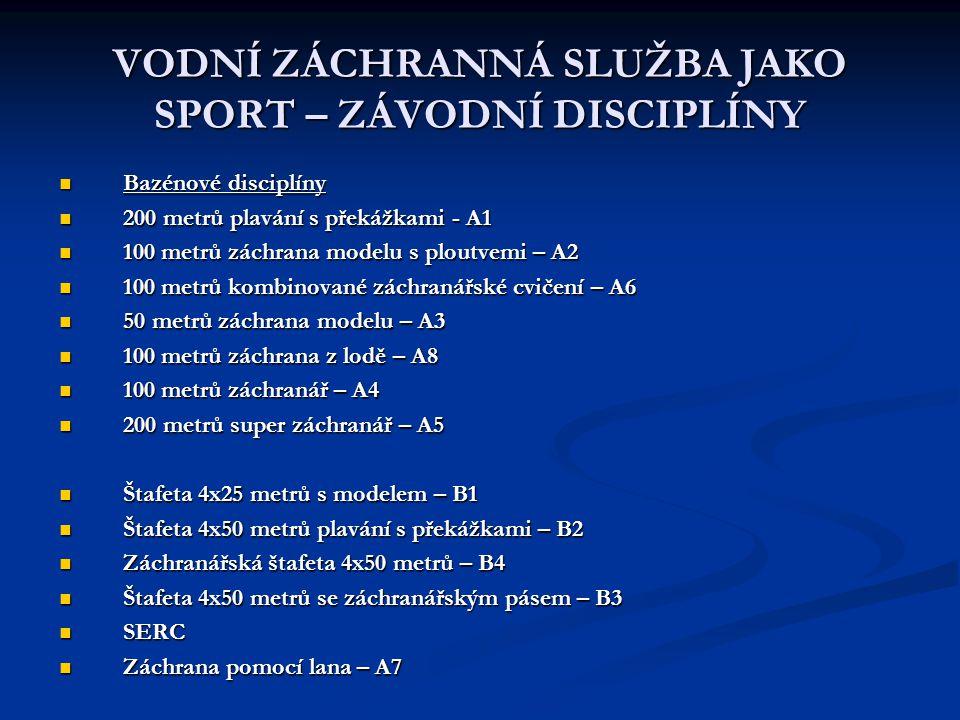 VODNÍ ZÁCHRANNÁ SLUŽBA JAKO SPORT – ZÁVODNÍ DISCIPLÍNY Bazénové disciplíny Bazénové disciplíny 200 metrů plavání s překážkami - A1 200 metrů plavání s
