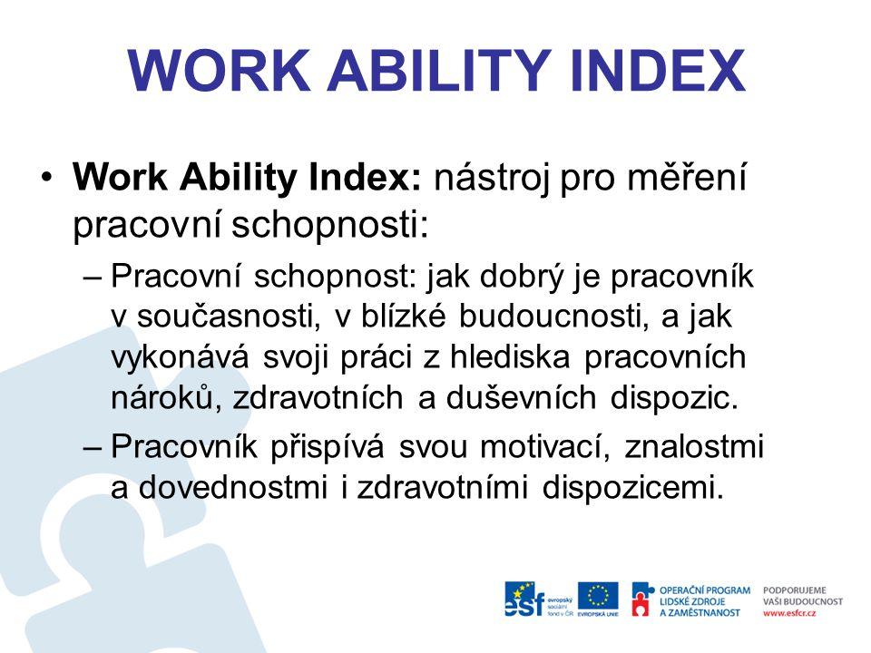 WORK ABILITY INDEX Work Ability Index: nástroj pro měření pracovní schopnosti: –Pracovní schopnost: jak dobrý je pracovník v současnosti, v blízké budoucnosti, a jak vykonává svoji práci z hlediska pracovních nároků, zdravotních a duševních dispozic.