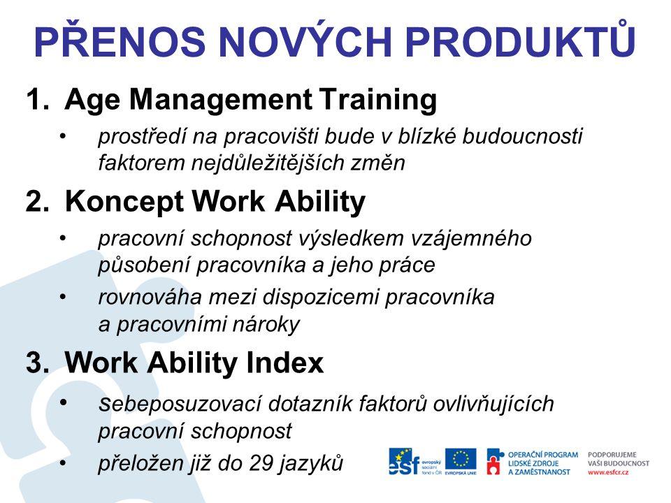 PŘENOS NOVÝCH PRODUKTŮ 1.Age Management Training prostředí na pracovišti bude v blízké budoucnosti faktorem nejdůležitějších změn 2.Koncept Work Ability pracovní schopnost výsledkem vzájemného působení pracovníka a jeho práce rovnováha mezi dispozicemi pracovníka a pracovními nároky 3.Work Ability Index s ebeposuzovací dotazník faktorů ovlivňujících pracovní schopnost přeložen již do 29 jazyků