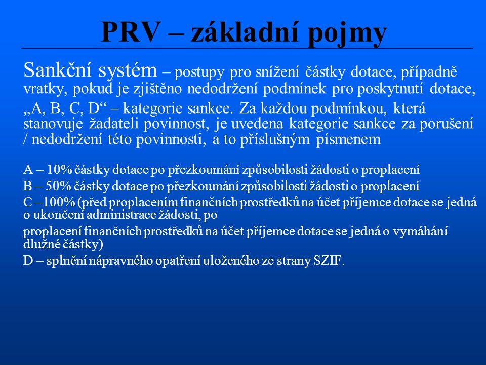 """Sankční systém – postupy pro snížení částky dotace, případně vratky, pokud je zjištěno nedodržení podmínek pro poskytnutí dotace, """"A, B, C, D"""" – kateg"""