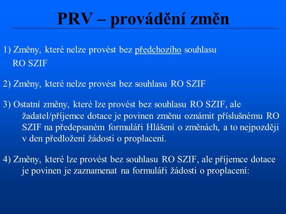 1) Změny, které nelze provést bez předchozího souhlasu RO SZIF 2) Změny, které nelze provést bez souhlasu RO SZIF 3) Ostatní změny, které lze provést