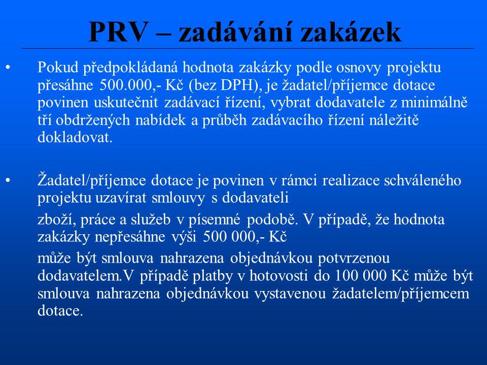 Pokud předpokládaná hodnota zakázky podle osnovy projektu přesáhne 500.000,- Kč (bez DPH), je žadatel/příjemce dotace povinen uskutečnit zadávací říze