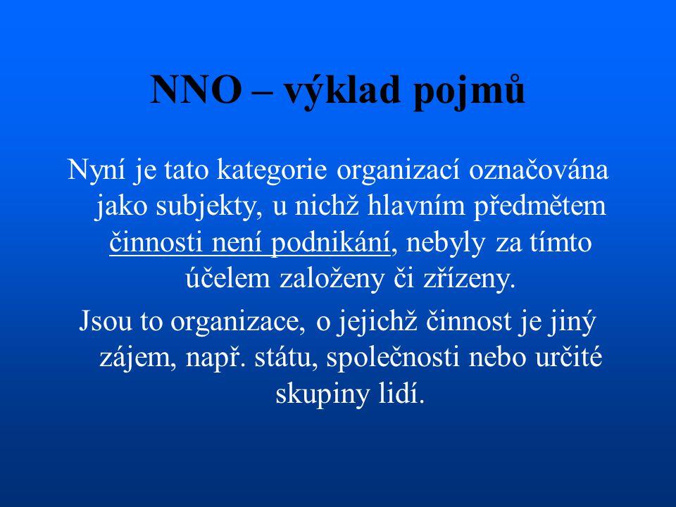 NNO – výklad pojmů Nyní je tato kategorie organizací označována jako subjekty, u nichž hlavním předmětem činnosti není podnikání, nebyly za tímto účel