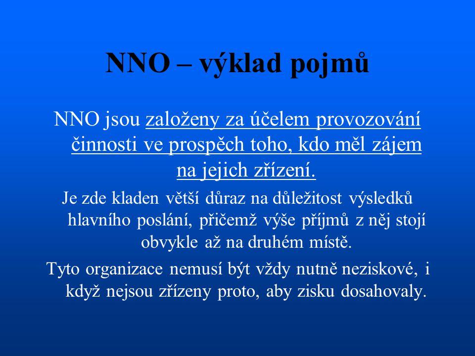 NNO – výklad pojmů NNO jsou založeny za účelem provozování činnosti ve prospěch toho, kdo měl zájem na jejich zřízení. Je zde kladen větší důraz na dů