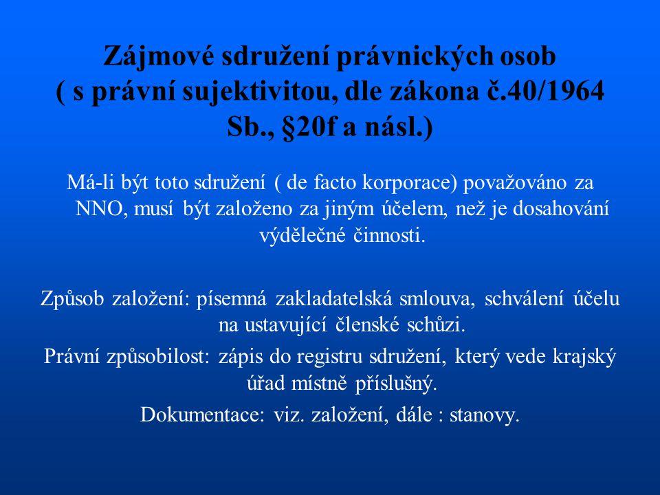 Zájmové sdružení právnických osob ( s právní sujektivitou, dle zákona č.40/1964 Sb., §20f a násl.) Má-li být toto sdružení ( de facto korporace) považ