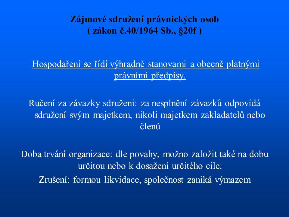 Zájmové sdružení právnických osob ( zákon č.40/1964 Sb., §20f ) Hospodaření se řídí výhradně stanovami a obecně platnými právními předpisy. Ručení za