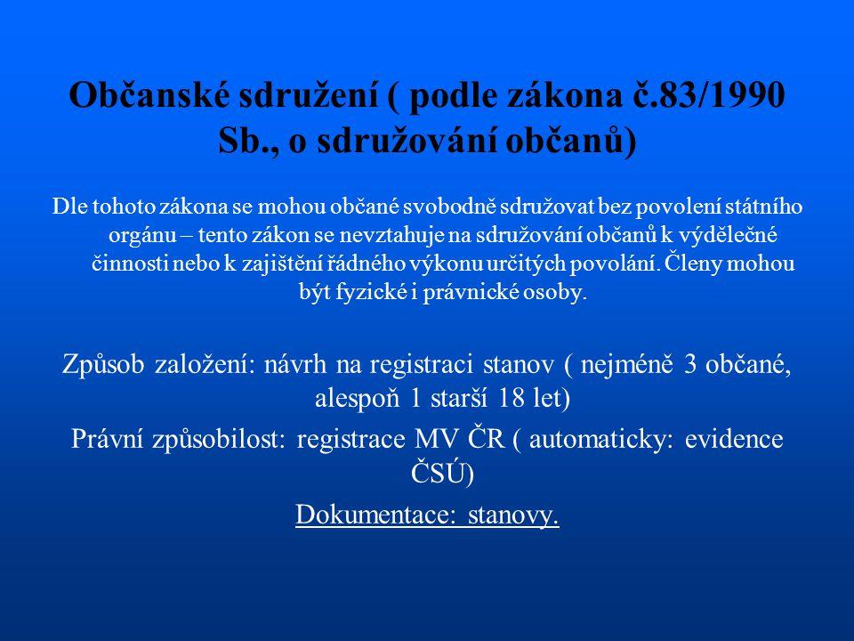 Občanské sdružení ( podle zákona č.83/1990 Sb., o sdružování občanů) Dle tohoto zákona se mohou občané svobodně sdružovat bez povolení státního orgánu
