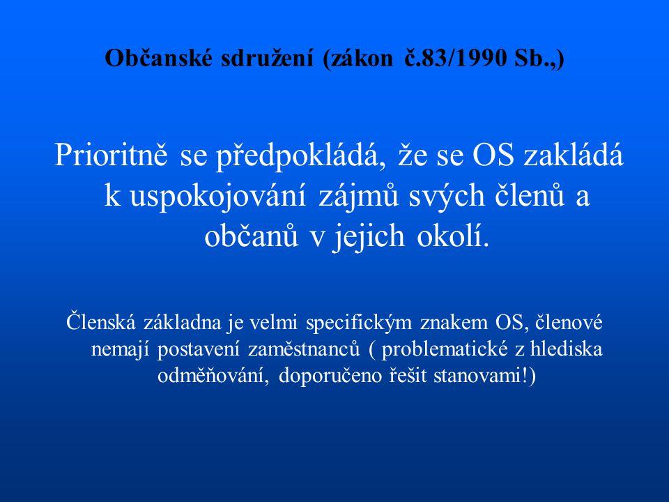 Občanské sdružení (zákon č.83/1990 Sb.,) Prioritně se předpokládá, že se OS zakládá k uspokojování zájmů svých členů a občanů v jejich okolí. Členská