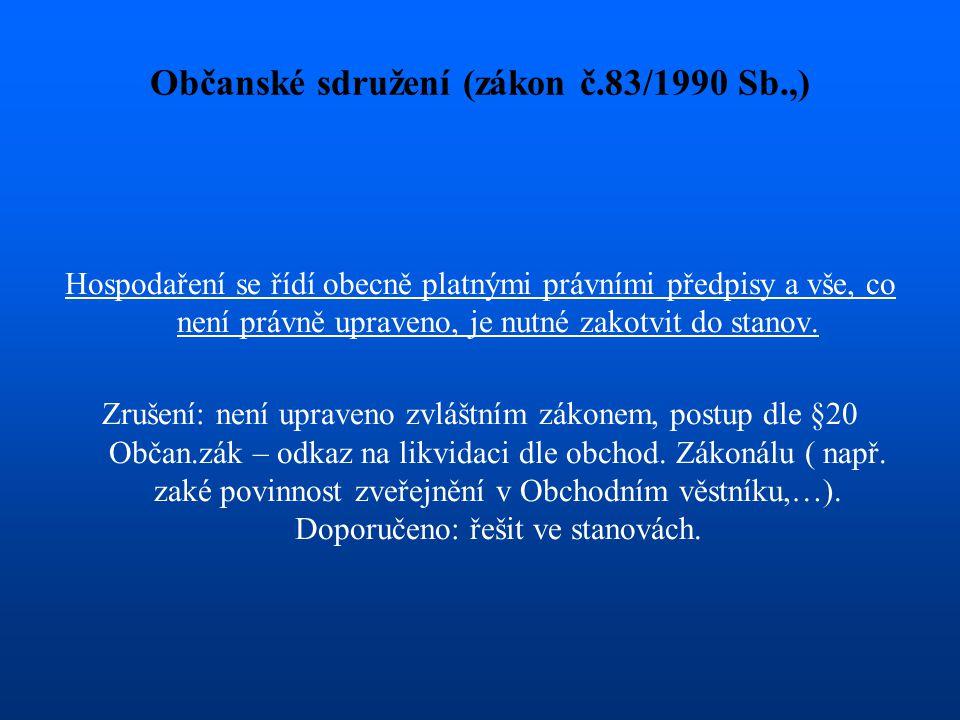 Občanské sdružení (zákon č.83/1990 Sb.,) Hospodaření se řídí obecně platnými právními předpisy a vše, co není právně upraveno, je nutné zakotvit do st