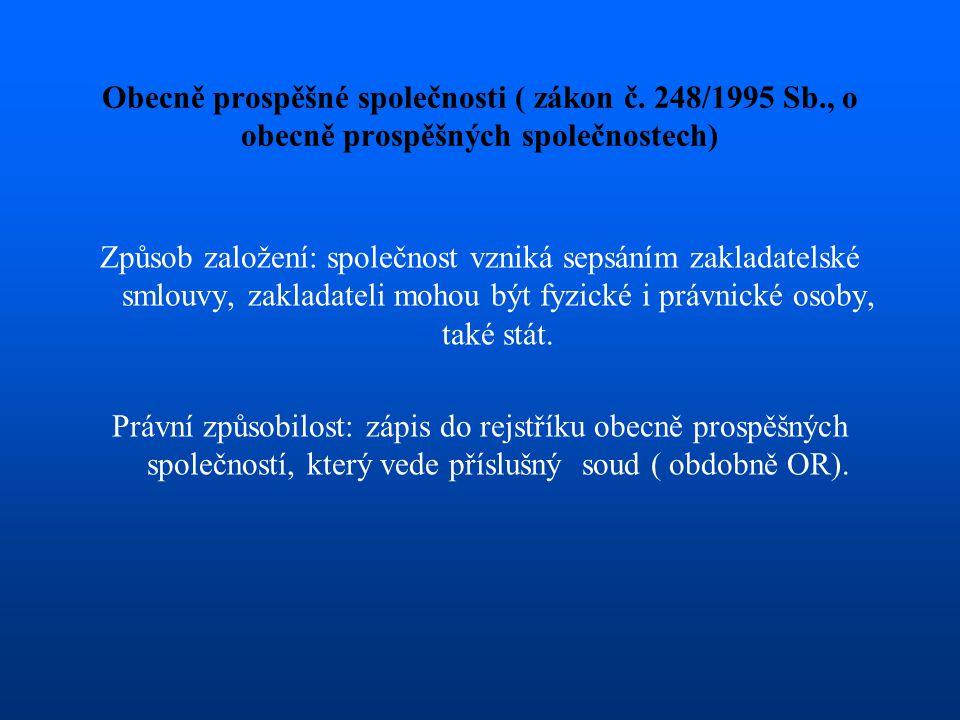 Obecně prospěšné společnosti ( zákon č. 248/1995 Sb., o obecně prospěšných společnostech) Způsob založení: společnost vzniká sepsáním zakladatelské sm