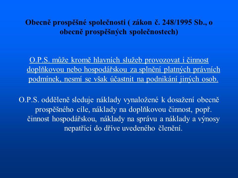 Obecně prospěšné společnosti ( zákon č. 248/1995 Sb., o obecně prospěšných společnostech) O.P.S. může kromě hlavních služeb provozovat i činnost doplň