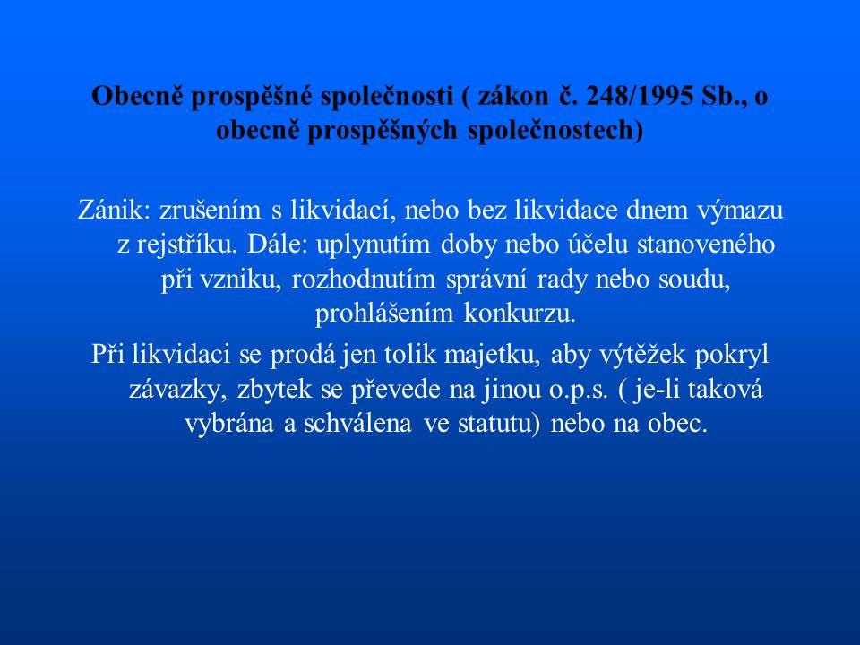 Obecně prospěšné společnosti ( zákon č. 248/1995 Sb., o obecně prospěšných společnostech) Zánik: zrušením s likvidací, nebo bez likvidace dnem výmazu
