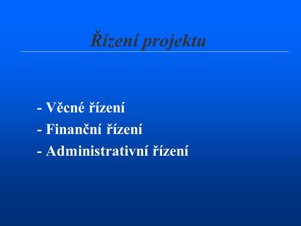 - Věcné řízení - Finanční řízení - Administrativní řízení Řízení projektu