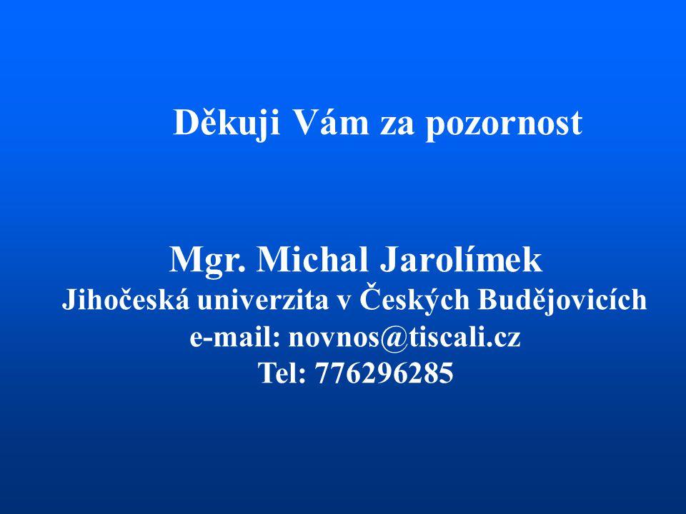 Děkuji Vám za pozornost Mgr. Michal Jarolímek Jihočeská univerzita v Českých Budějovicích e-mail: novnos@tiscali.cz Tel: 776296285