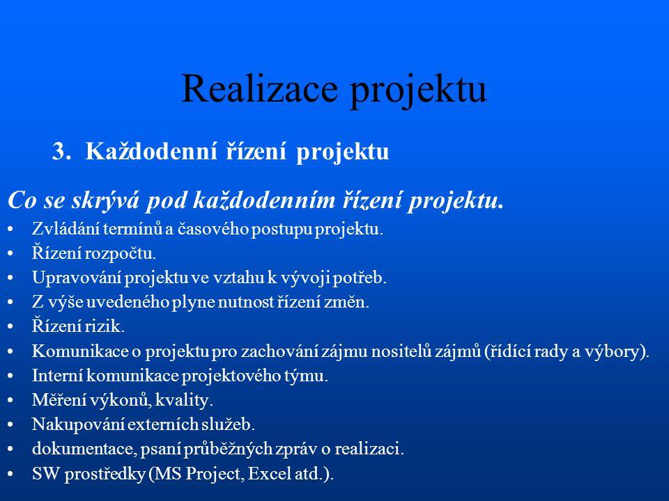Realizace projektu 3. Každodenní řízení projektu Co se skrývá pod každodenním řízení projektu. Zvládání termínů a časového postupu projektu. Řízení ro