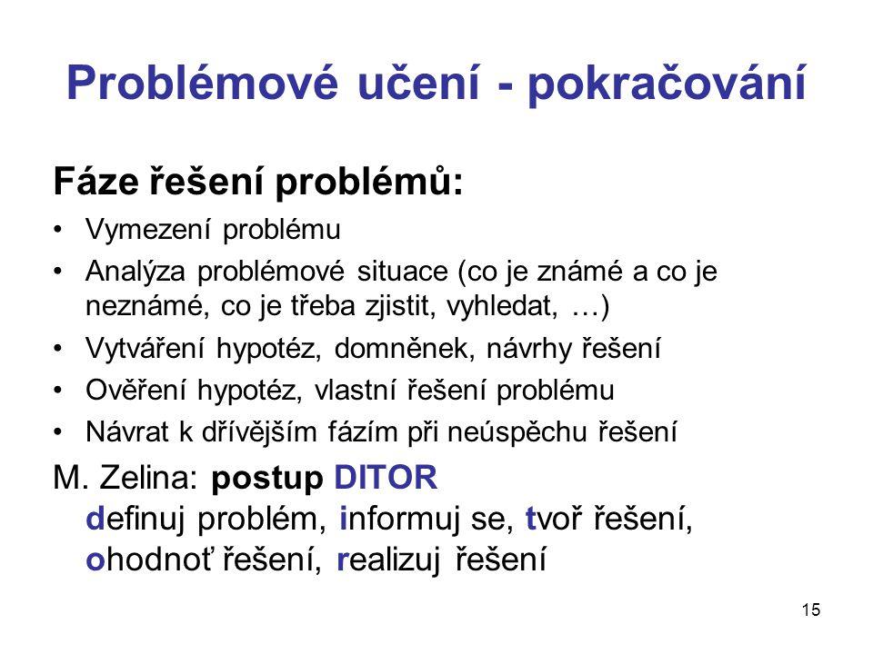 15 Problémové učení - pokračování Fáze řešení problémů: Vymezení problému Analýza problémové situace (co je známé a co je neznámé, co je třeba zjistit