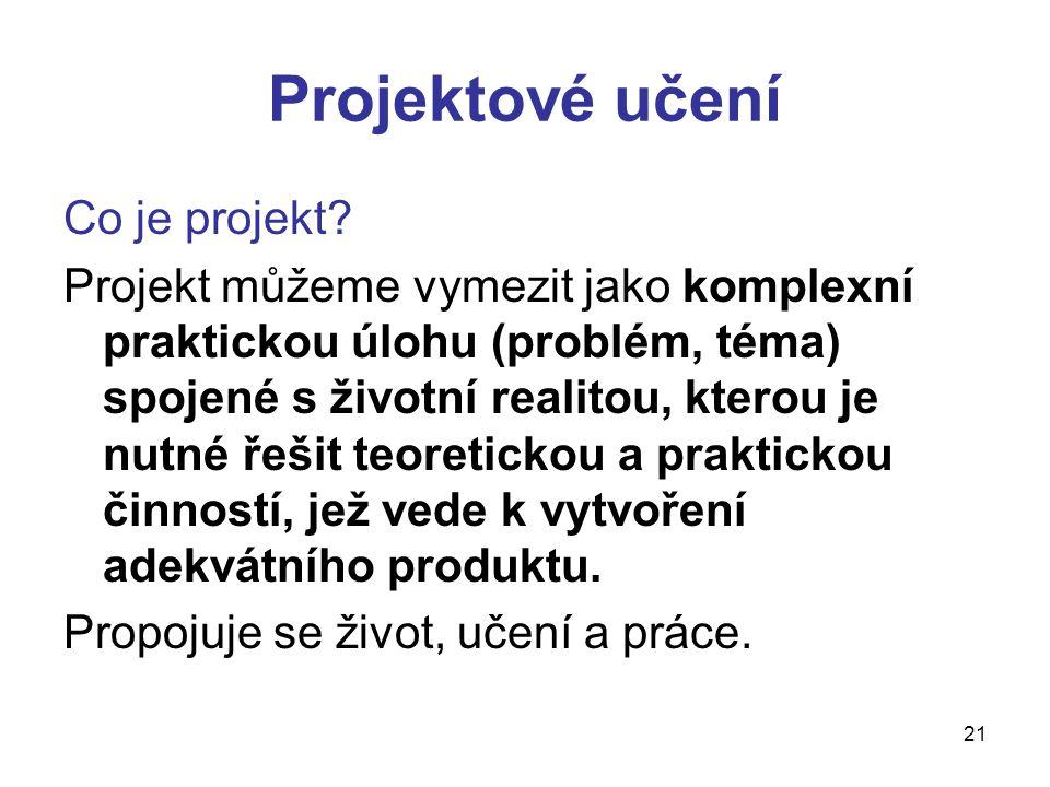 21 Projektové učení Co je projekt? Projekt můžeme vymezit jako komplexní praktickou úlohu (problém, téma) spojené s životní realitou, kterou je nutné