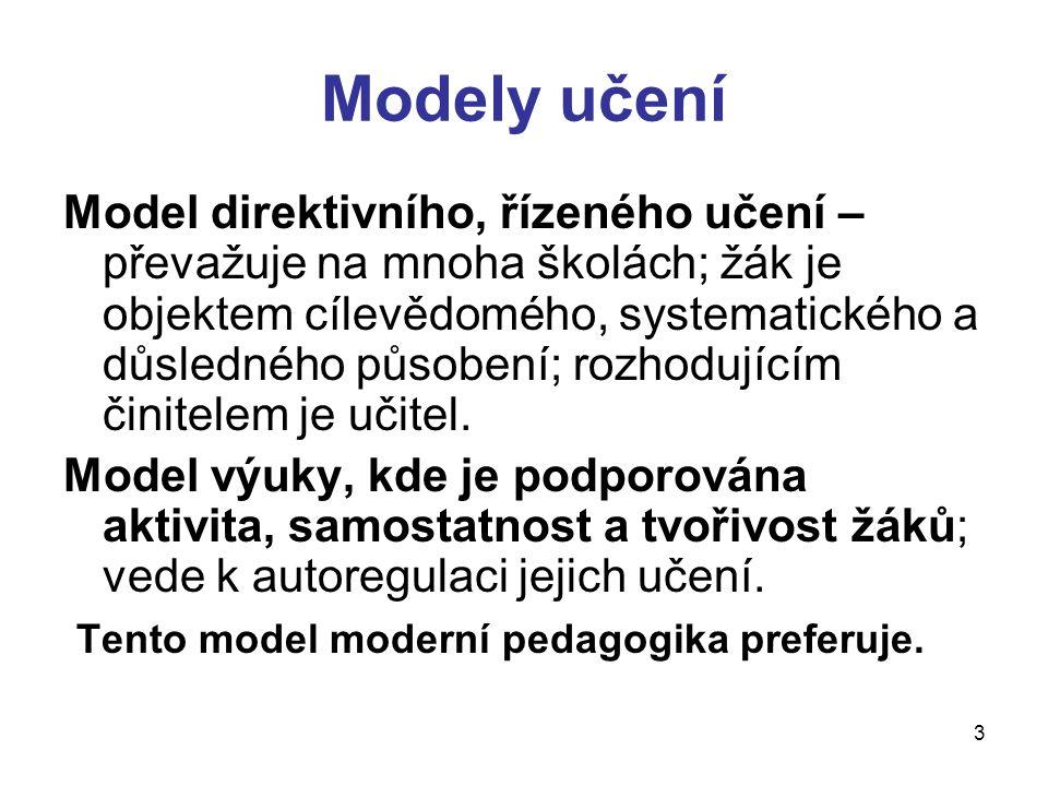 3 Modely učení Model direktivního, řízeného učení – převažuje na mnoha školách; žák je objektem cílevědomého, systematického a důsledného působení; ro