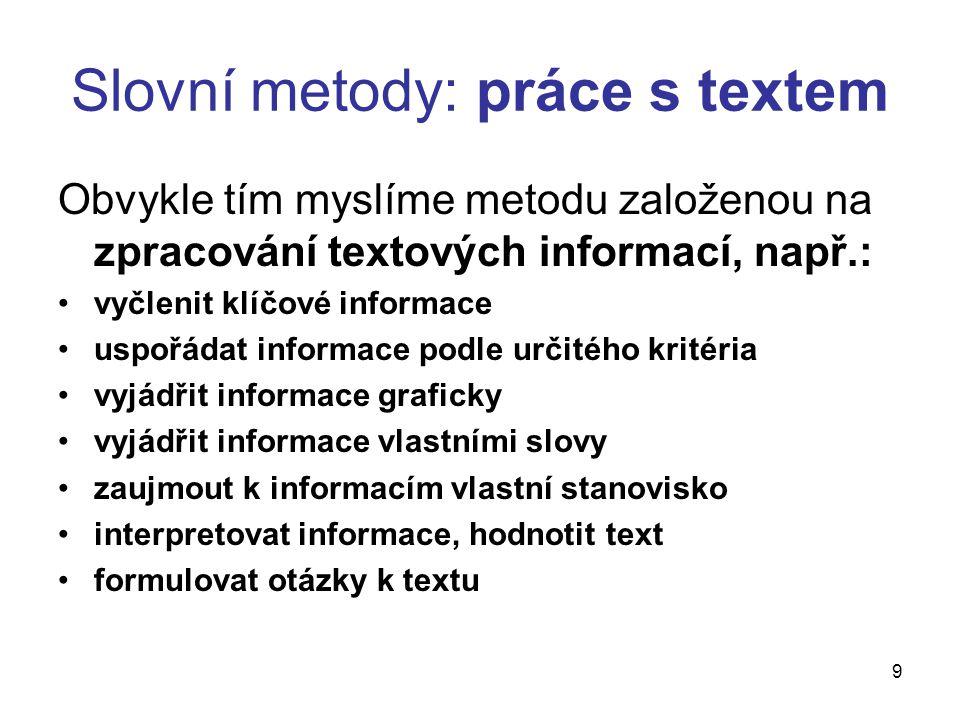 9 Slovní metody: práce s textem Obvykle tím myslíme metodu založenou na zpracování textových informací, např.: vyčlenit klíčové informace uspořádat in