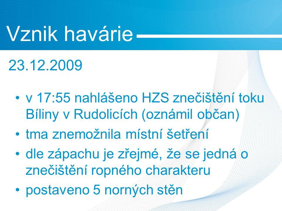 v 17:55 nahlášeno HZS znečištění toku Bíliny v Rudolicích (oznámil občan) tma znemožnila místní šetření dle zápachu je zřejmé, že se jedná o znečištění ropného charakteru postaveno 5 norných stěn Vznik havárie 23.12.2009