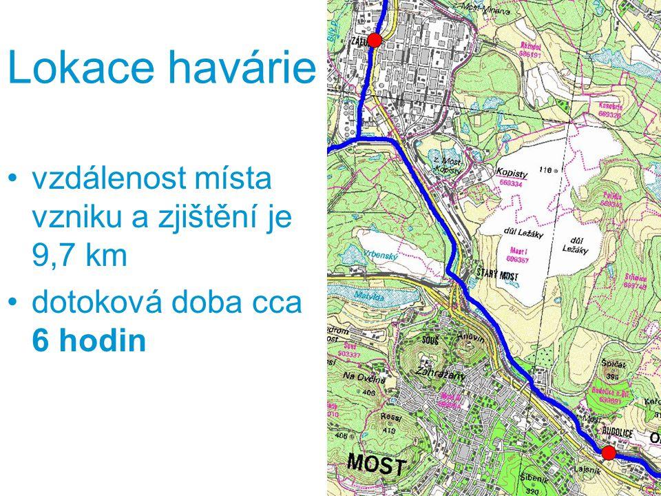 Lokace havárie vzdálenost místa vzniku a zjištění je 9,7 km dotoková doba cca 6 hodin