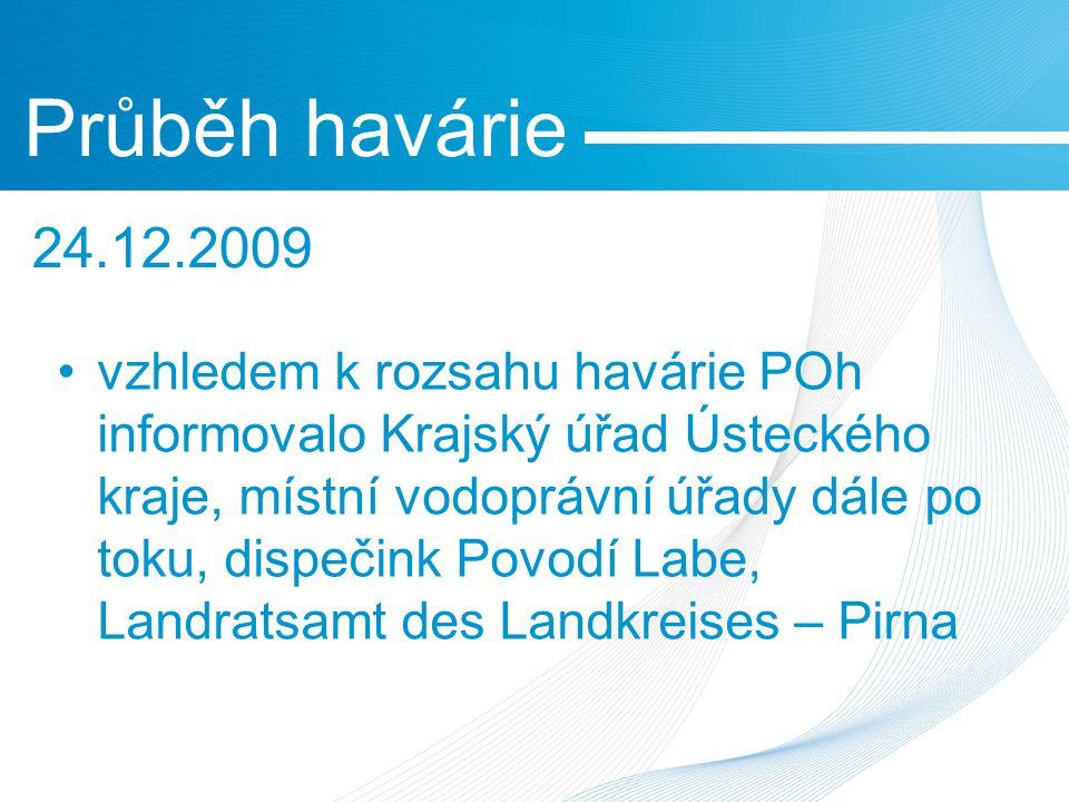 vzhledem k rozsahu havárie POh informovalo Krajský úřad Ústeckého kraje, místní vodoprávní úřady dále po toku, dispečink Povodí Labe, Landratsamt des Landkreises – Pirna Průběh havárie 24.12.2009