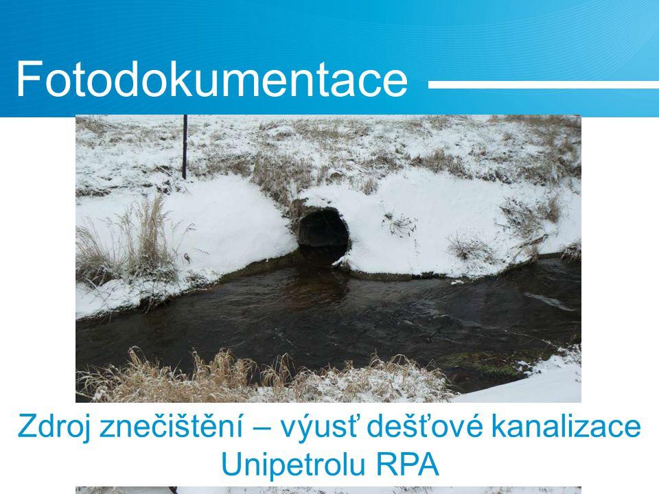 Fotodokumentace Zdroj znečištění – výusť dešťové kanalizace Unipetrolu RPA