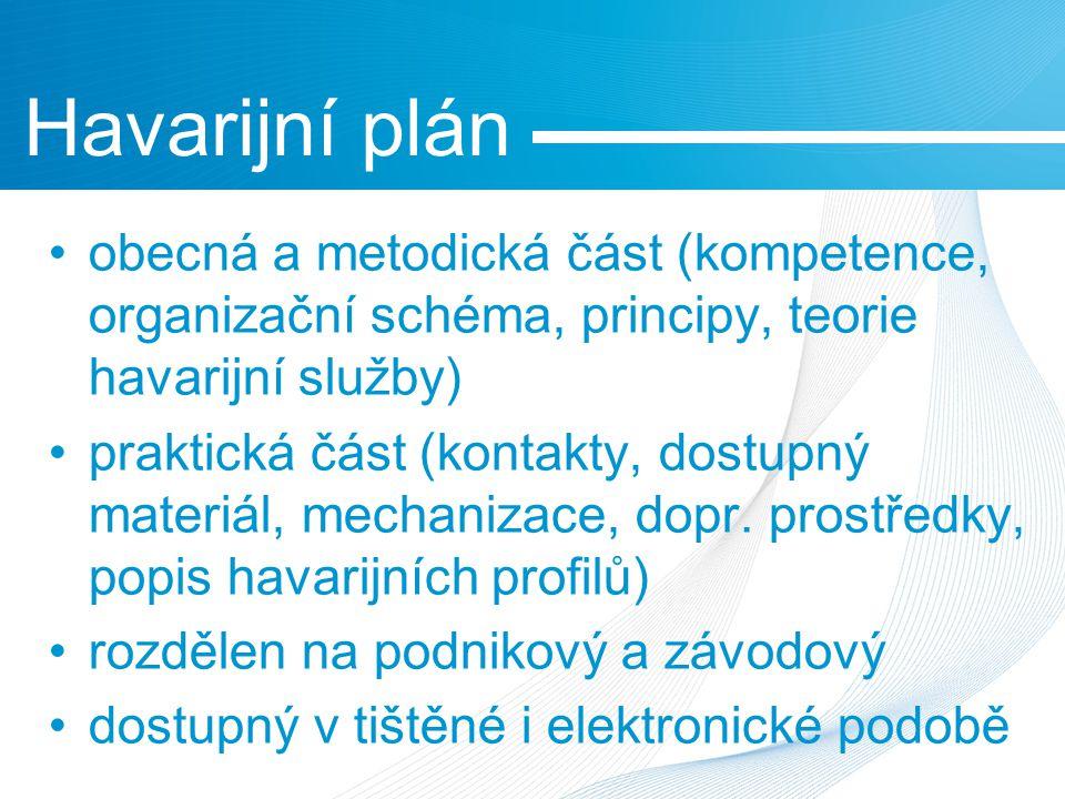 obecná a metodická část (kompetence, organizační schéma, principy, teorie havarijní služby) praktická část (kontakty, dostupný materiál, mechanizace, dopr.