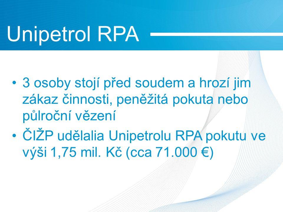 3 osoby stojí před soudem a hrozí jim zákaz činnosti, peněžitá pokuta nebo půlroční vězení ČIŽP udělalia Unipetrolu RPA pokutu ve výši 1,75 mil.