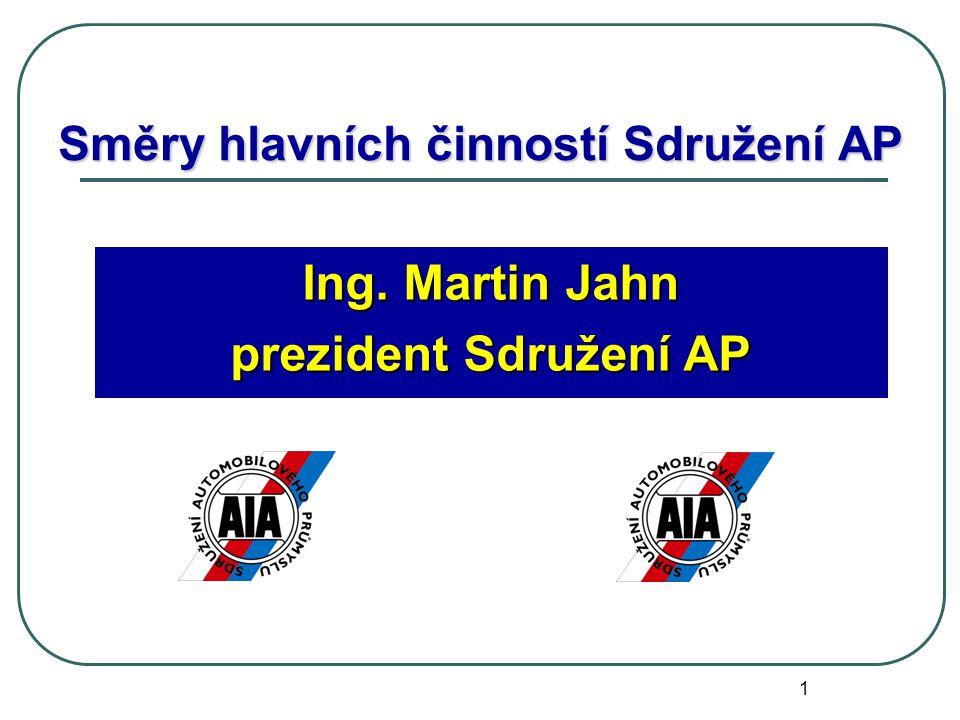 1 Směry hlavních činností Sdružení AP Ing. Martin Jahn prezident Sdružení AP