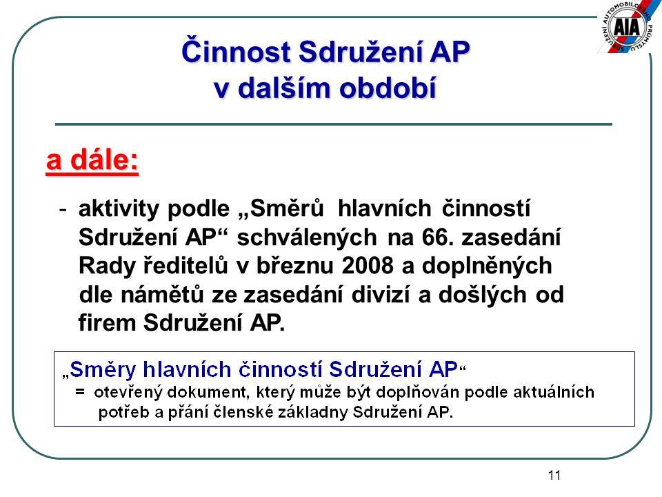 """11 a dále: -aktivity podle """"Směrů hlavních činností Sdružení AP schválených na 66."""
