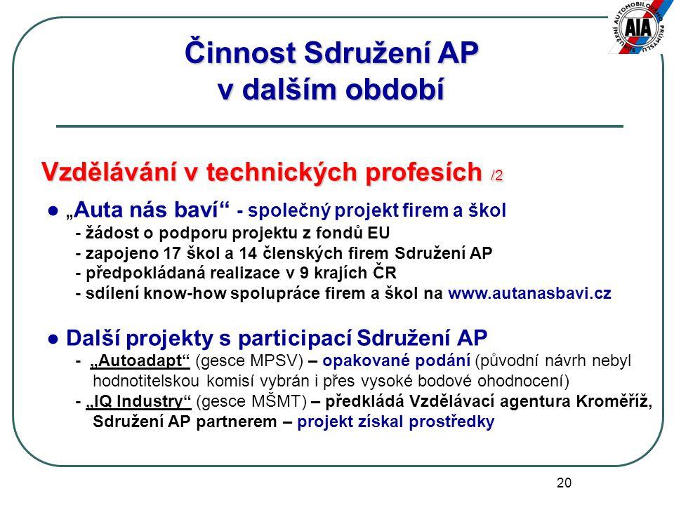 """20 Vzdělávání v technických profesích /2 ● """"Auta nás baví"""" - společný projekt firem a škol - žádost o podporu projektu z fondů EU - zapojeno 17 škol a"""
