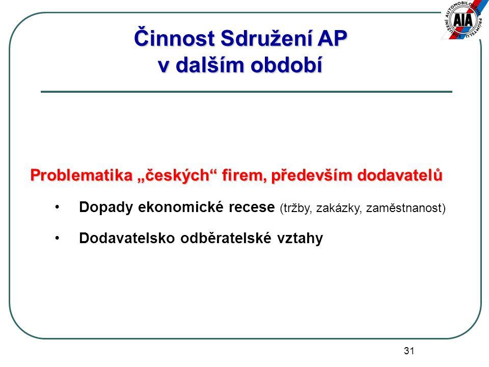 """31 Problematika """"českých firem, především dodavatelů Dopady ekonomické recese (tržby, zakázky, zaměstnanost) Dodavatelsko odběratelské vztahy Činnost Sdružení AP v dalším období"""