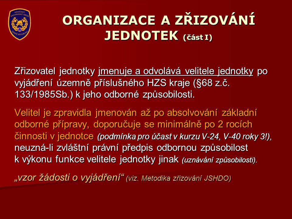 ORGANIZACE A ZŘIZOVÁNÍ JEDNOTEK (část I) Zřizovatel jednotky jmenuje a odvolává velitele jednotky po vyjádření územně příslušného HZS kraje (§68 z.č.