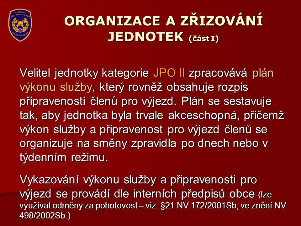 ORGANIZACE A ZŘIZOVÁNÍ JEDNOTEK (část I) Velitel jednotky kategorie JPO II zpracovává plán výkonu služby, který rovněž obsahuje rozpis připravenosti č