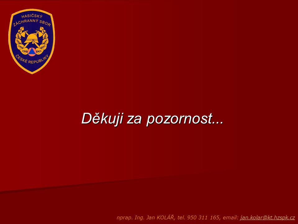 Děkuji za pozornost... nprap. Ing. Jan KOLÁŘ, tel. 950 311 165, email: jan.kolar@kt.hzspk.czjan.kolar@kt.hzspk.cz